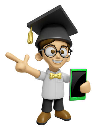 doctorate: 3D Scholar Man Mascot the right hand guides and the left hand is holding a Smart Phone. Work and Job Character Design Series 2.