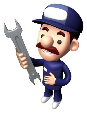 3D Engineer Character is holding a Wrench. Stock Photo