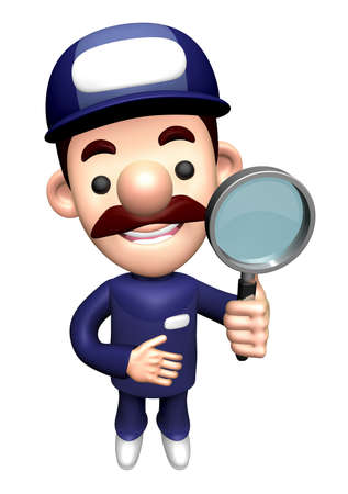 3D Repair Person Character is holding the Magnifier. Stock Photo