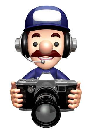 3D Repairman Mascot is holding a camera.