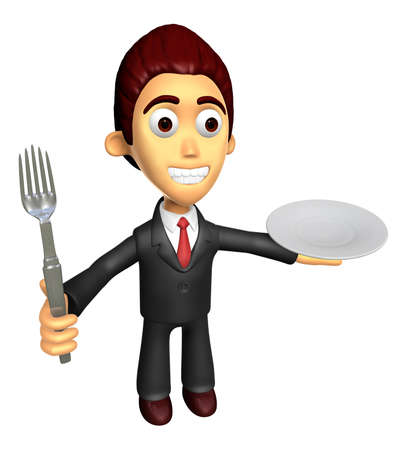 3D Business man Mascot the hand is holding a fork and plate. Work and Job Character Design Series.