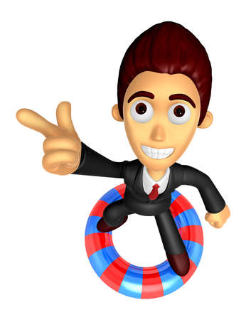 3D Business man Mascot dip tube ride on Pointing fingers gesture of anger. Work and Job Character Design Series. Stock Photo