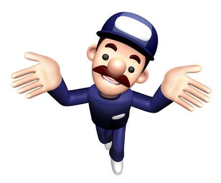 3D Technician Character is Unawareness Gesture. Stock Photo