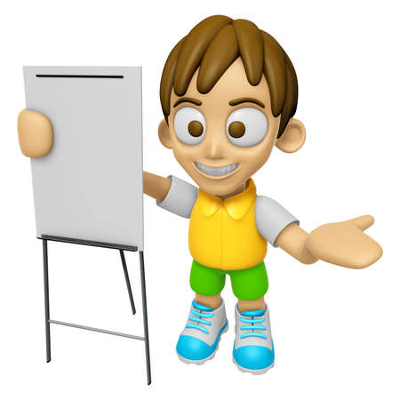 3D Child Mascot is presentation in front of the a briefing chart. Work and Job Character Design Series 2. Stock Photo