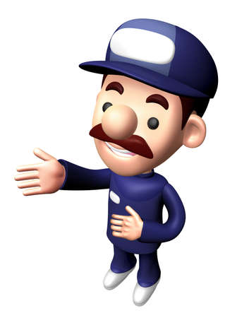 3D Mechanic Character is a guide gesture. Stock Photo