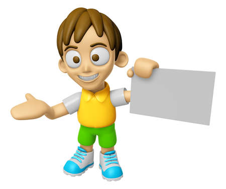 3D Child Mascot is holding a business card. Work and Job Character Design Series 2.