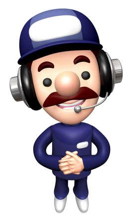 3D Repairman Mascot Kindly greet.