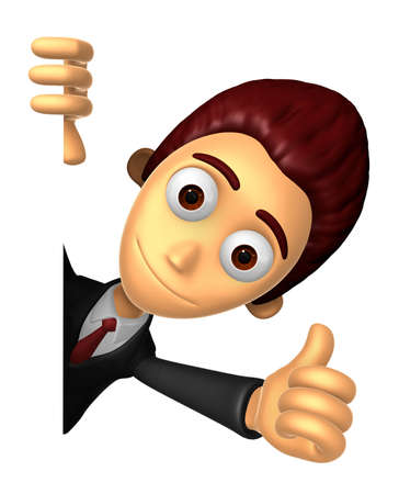 3D Business man Mascot the right hand best gesture and left hand is holding a board. Work and Job Character Design Series.