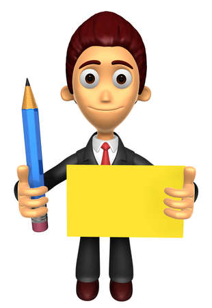 3D Business man mascot hand is holding a pencil and board. Work and Job Character Design Series.