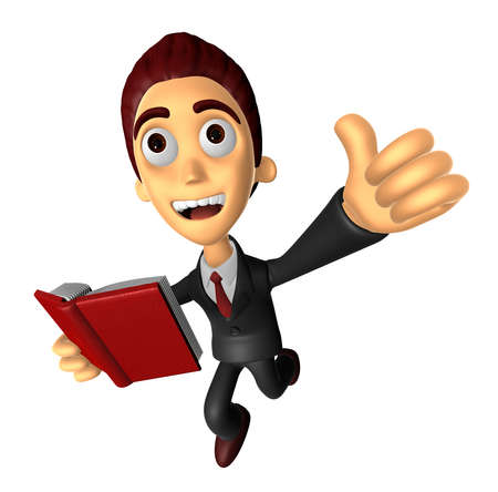 3D Business man Mascot the left hand best gesture and right hand is holding a book. Work and Job Character Design Series.