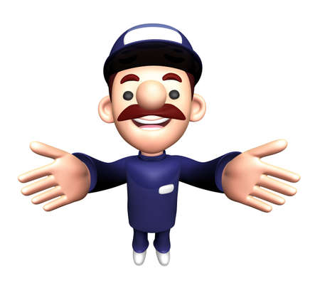 3D Repairman Character is welcome. Stock Photo