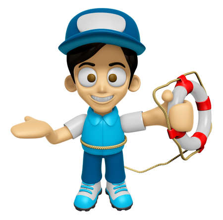 3D Delivery Service Man Mascot the hand is holding a Lifebelt. Work and Job Character Design Series 2.