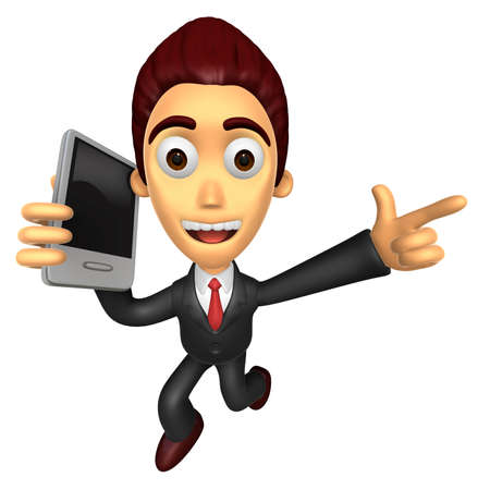 3D Business man Mascots to jump out of the phone. Work and Job Character Design Series.