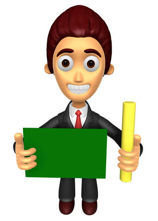 3D Business man mascot hand is holding a chalk and board. Work and Job Character Design Series.