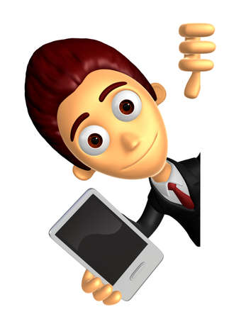 3D Business man Mascot hand is holding a Smart Phone and Big advert board. Work and Job Character Design Series.
