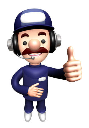 3D Service Mascot is a best gestures. Stock Photo