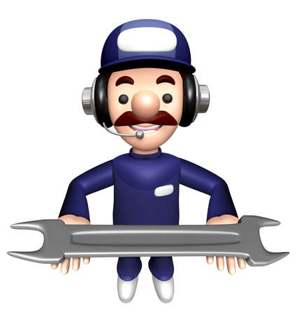 3D Technician Mascot is holding a Wrench with both hands.