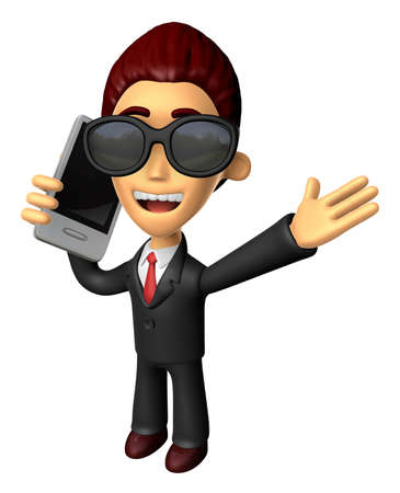 Wear sunglasses 3D Business man Mascot talk over telephone. Work and Job Character Design Series. Stock Photo