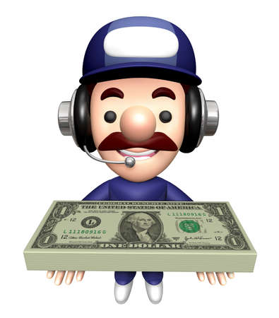 3D Specialist Mascot is holding a bunch of dollars.