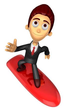 3D Business man Mascot balancing on a surfboard. Work and Job Character Design Series.