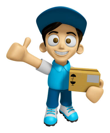 3D Delivery Service Man Mascot is to provide the best service. Work and Job Character Design Series 2. Stok Fotoğraf