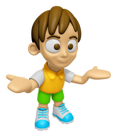 mankind: 3D Child Mascot has been welcomed with both hands. Work and Job Character Design Series 2. Stock Photo
