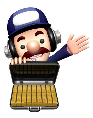3D Repairman Mascot is holding the Gold Bar Briefcase. Stok Fotoğraf