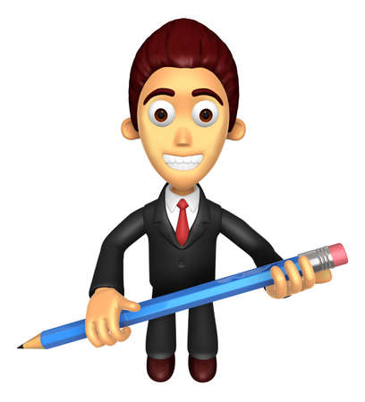 3D Business man mascot holding a big board with both Pencil. Work and Job Character Design Series.