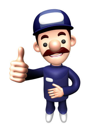 3D Mechanic Character is a Thumb up gesture.