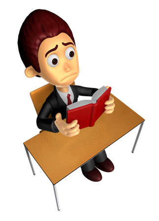3D Business man Mascot read in one�s leisure hours. Work and Job Character Design Series.