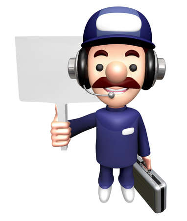 3D Mechanic Mascot is holding a Picket and Briefcase.