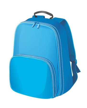 MOCHILA: mochila azul realista. Mochila sobre fondo blanco. Foto de archivo