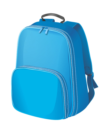 backpack school: Realistic blue backpack. Schoolbag on white background.