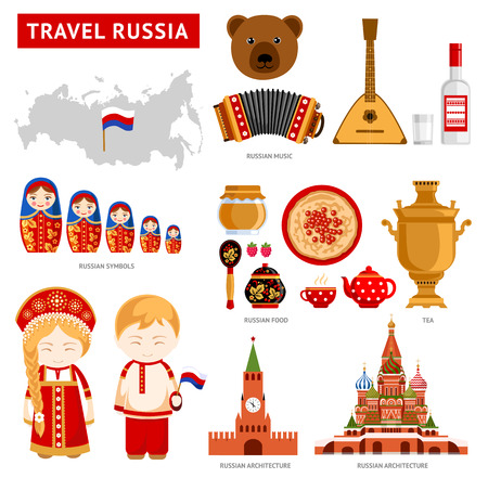 Travel to Russia. Set of icons of Russian architecture, food, costumes, traditional symbols, music, musical instruments, dolls, tea. Russian people. Collection of flat illustration to guide. Vettoriali