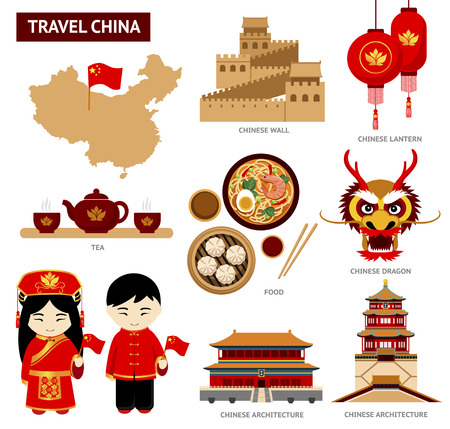 Travel to China. Set of icons of Chinese architecture, food, costumes, traditional symbols. Collection of illustration to guide China.