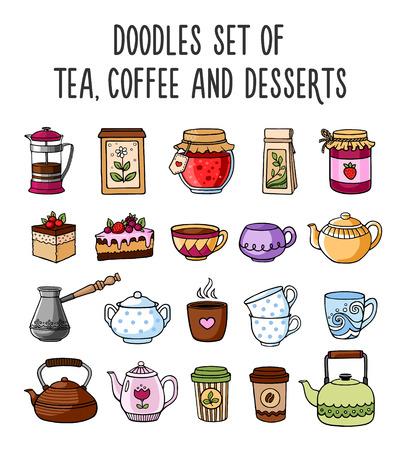 postres: Conjunto de dibujos de colores de las teteras, tazas, té, café y postres. estilo de dibujo.