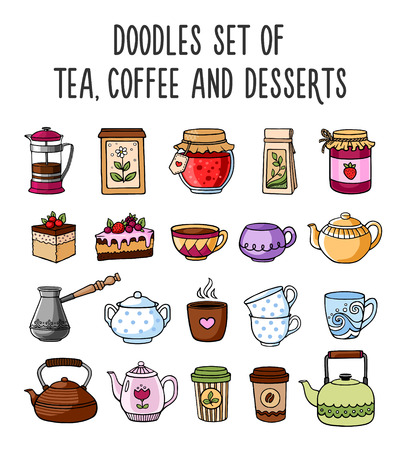 Set of colored sketches of teapots, cups, tea, coffee and desserts. Doodle style. Illustration