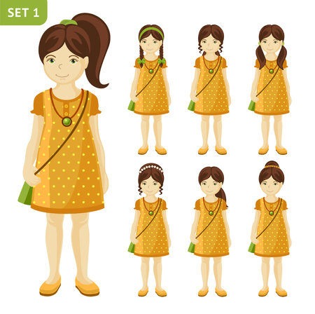 Collection of cute little girls with different hairstyles. Set of girls in dresses. Full-length portrait. Girl with brown hair. Illustration