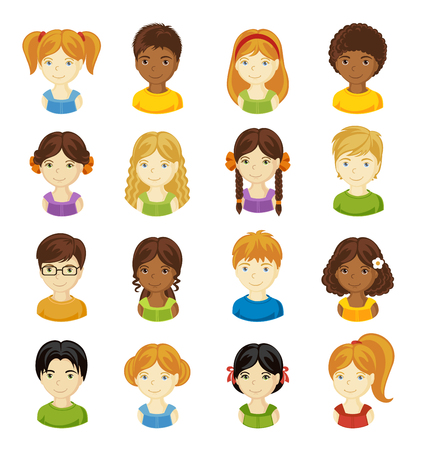 Children face set. Vector illustration set of different avatars of boys and girls on a white background. Collection of portraits kids. Vettoriali