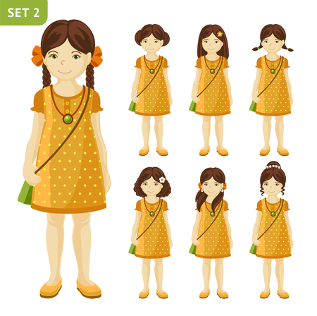 pigtails: Collection of cute little girls with different hairstyles. Set of girls in dresses. Full-length portrait.Girl with brown hair.