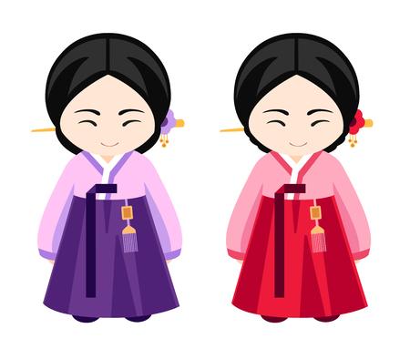 menina: Meninas coreano bonito no vestido nacional. Ilustração