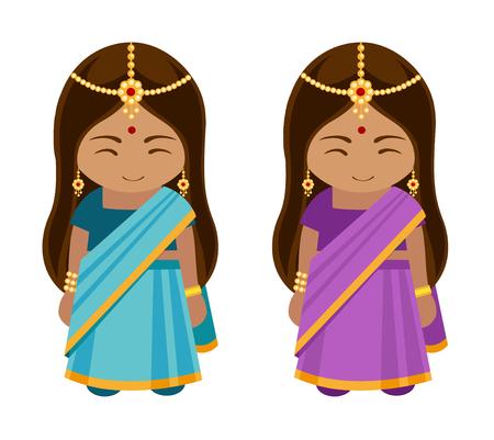 Muchacha india en sari azul y púrpura.