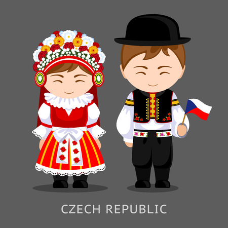 Czechs in national dress with a flag. Man and woman in traditional costume. Travel to Czech Republic. People. Vector flat illustration.