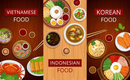Set of vertical web banners. Vietnamese, Korean, Indonesian cuisine. Asian food. Traditional national dishes on a wooden background. Collection of vector illustration. Flat design.