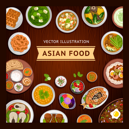 Asian food on a wooden table. Indian and Philippine cuisine. Vector flat illustration.