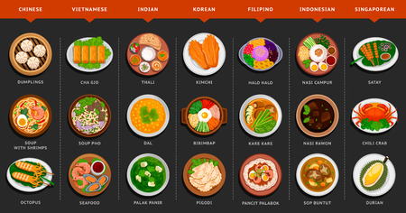 Big set of asian food. Vietnamese, Korean, Indonesian, Indian, Chinese, Filipino, Singaporean cuisine. Various food dishes. Vector flat illustration. Stock Illustratie