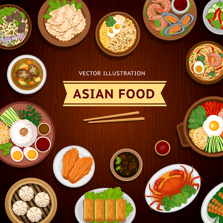 Asian food. Traditional national dishes on a wooden background. Vector illustration. Banner, menu. Flat design. Asian cuisine.