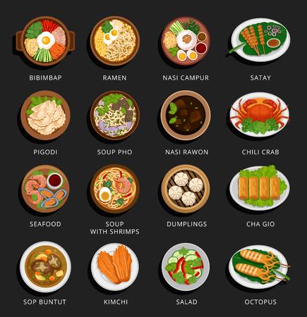 Grand ensemble de plats asiatiques. Cuisine vietnamienne, coréenne, indonésienne, chinoise et japonaise. Divers plats de nourriture. Plate illustration vectorielle. Peut être utilisé pour la mise en page, la publicité et la conception Web. Vecteurs