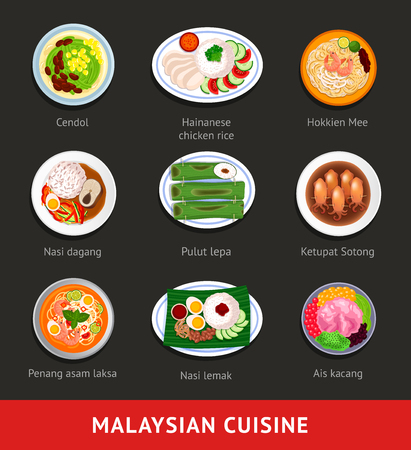 一大堆马来西亚食物。亚洲传统美食。各个国家的菜肴。从以上观点。矢量平面插图。
