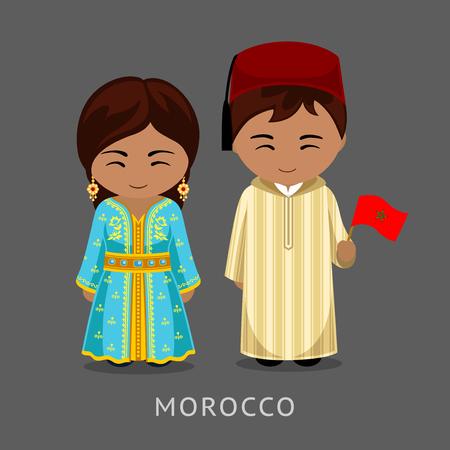 Marokańczycy w strojach narodowych z flagą. Podróż do Maroka. Mężczyzna i kobieta w tradycyjnych strojach. Ludzie. Płaskie ilustracji wektorowych.